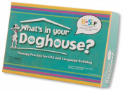 Engaging, structured therapy game to help children bridge speech motor coordination practice to expressive language skill development. Helps children produce a core vocabulary of nouns, practice pivot phrases, and engage in social language. Use with 1 to 6 players.