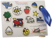 This is a must-have for anyone working with young children on pointing skills, taking turns, and following directions. The front side has pictures of 12 common objects and can be completed like a regular puzzle. Children can be taught to point to the pictures by having them